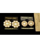 Vintage Style Clip On Earrings White Faux Pearl Beaded Goldtone Flower S... - $8.59
