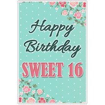 Pink and Teal Floral Sweet 16 Sixteen Birthday ... - $18.50