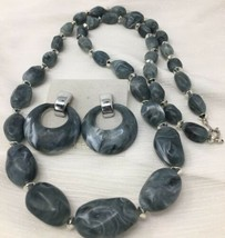 VTG Necklace & Earrings Lucite Resin Plastic Faux Grey Stone Hong Kong #... - $7.60