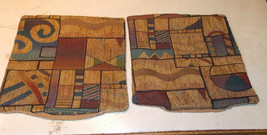 Pair of Taupe Abstract Print Decorative Print Throw Pillows  12 x 12 - $29.95
