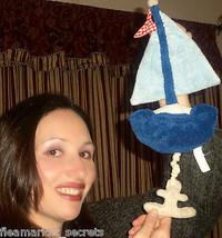 Pottery Barn Kinder Pbk Nautische Segelboot Babywiege Musical Ziehen Segel Boot - $24.79