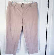Talbots The Perfect Crop Curvy Pants 14P Womens Petite Tan Khaki Stretch... - $23.28