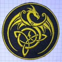 Knotted Golden Dragon  Embroidered Cloth Iron On Patch   Aufnäher - $3.45