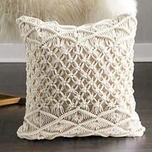 "FLBER Macrame Pillow Woven Decorative Throw Pillow,15.8""x15.8"""