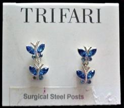 Trifari Blue Butterflies Pierced Earrings Dangle Sur Steel Posts Rhinestones NOC - $19.95