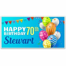 Balloons and Confetti w/Star 70th Birthday (or any age) Party Banner Party Decor - $28.22+