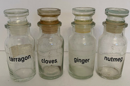 """Set of 4 Vintage Glass Spice Jars with Glass Stopper Lids 4 1/8""""h Made i... - £6.60 GBP"""