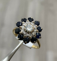 Sapphire And Diamond Cluster Ring 18k Yellow Gold 3D Ring Size M1/2 BHS - $1,723.06