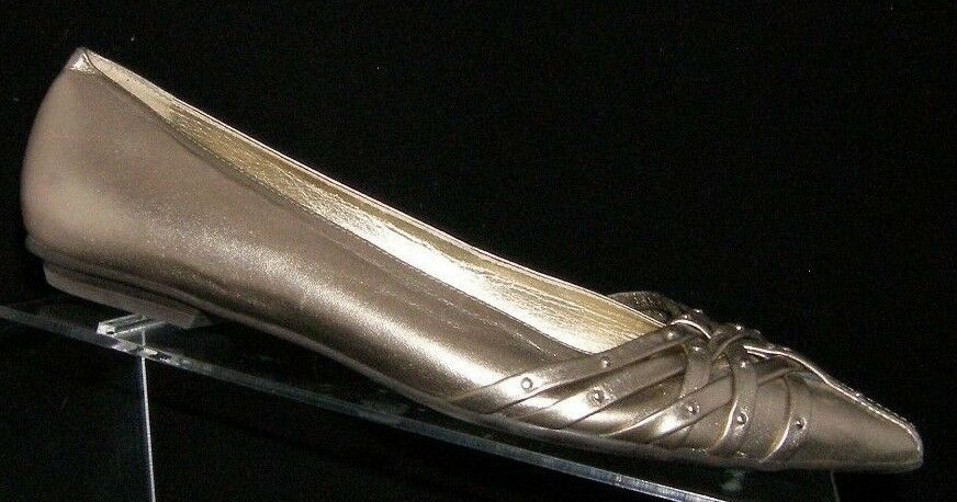 Jessica Simpson gold metallic pointed toe studded strappy ballet flats 6B 6262