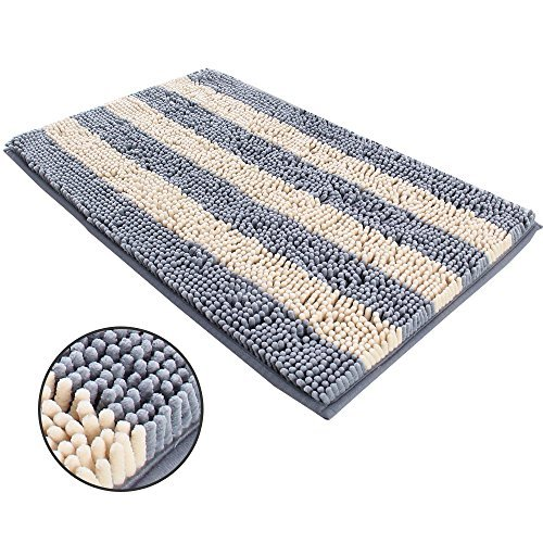 Ihoming Pet Mud Rugs Bowl Bed Mat Absorbent Microfiber Chenille Stripe Dog Cat D