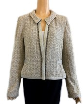 St. John Couture Taupe Gray Metallic Knit Jacket With Beading & Sequin 12 - $192.00
