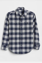 New Gap Kids Boy Flannel Blue Buffalo Plaid Long Sleeve Button Down Shirt 14 16 - $22.72