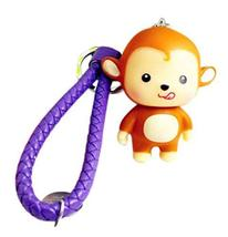 PANDA SUPERSTORE 2 Pieces of Monkey Car Key Ring Creative Weave Key Pendant, Pur