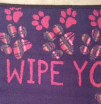 """Kitchen Rug """"Wipe Your Paws"""" Floor Mat Microfiber Black Red Pawprints 17x28 image 3"""