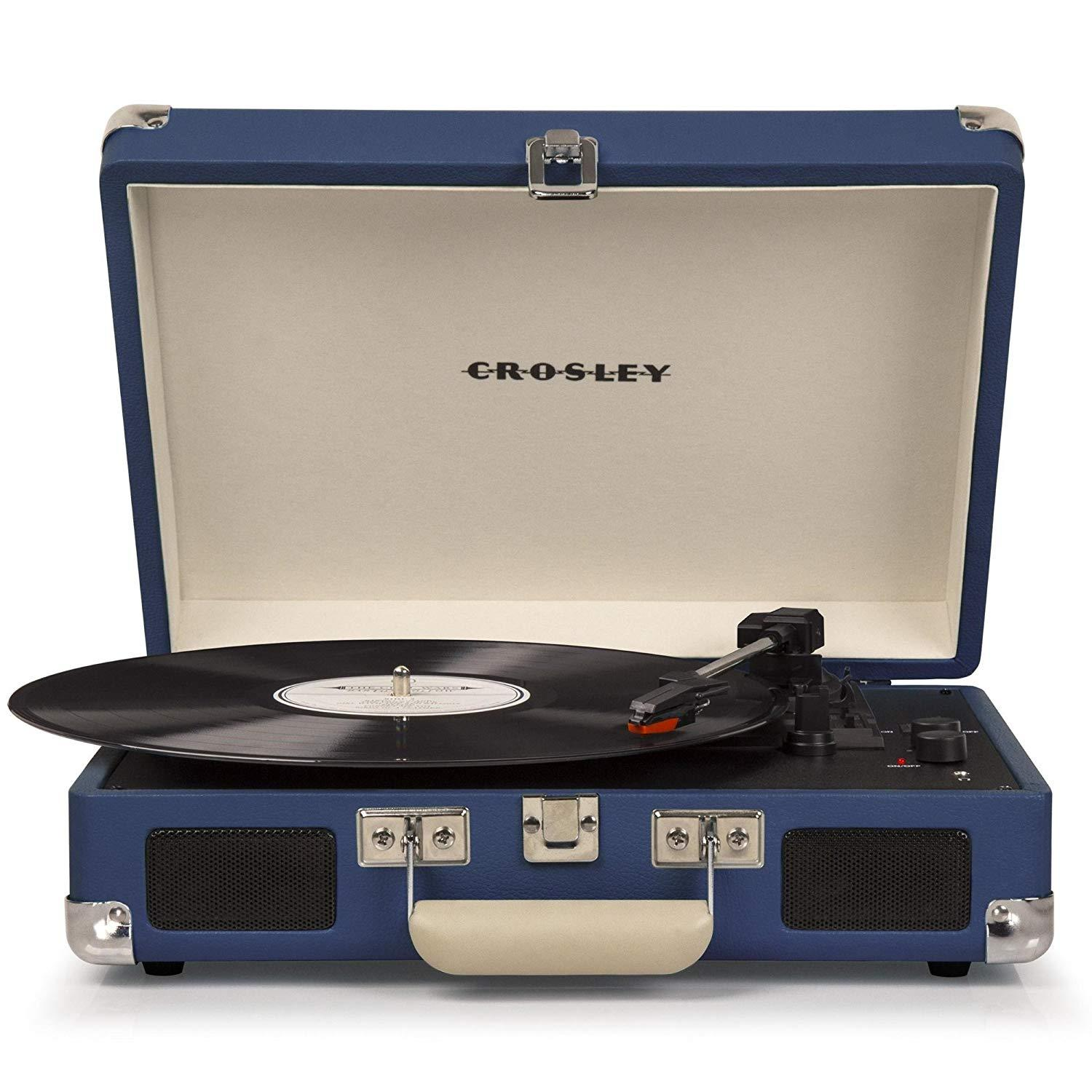 PORTABLE STEREO RECORD PLAYER TURNTABLE IN HAWAIIAN BLUE ELVIS PRESLEY 3 SPEED