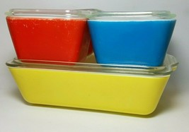 Pyrex Primary Colors Refrigerator Dish Set Yellow Blue Red w/Lids Vintage - $72.22