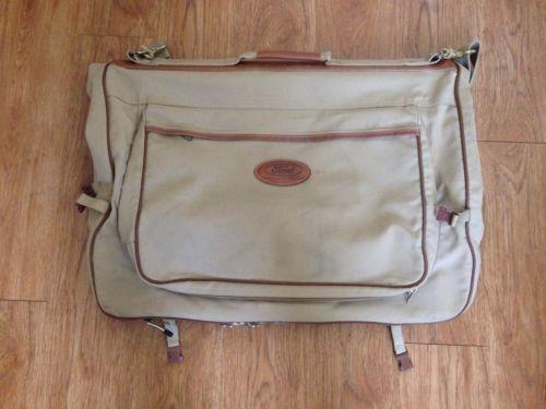 ce450c34badc FORD EDDIE BAUER Edition Tan Khaki Brown Canvas Leather Folding Garment Bag  -  36.01