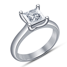 Princess Cut Diamond 14k White Gold FN 925 Silver Women's Solitaire Wedd... - $67.50