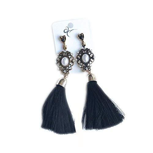 Primary image for Retro Thread Tassel Earrings Dangle Earrings for Daily Occasion - Black