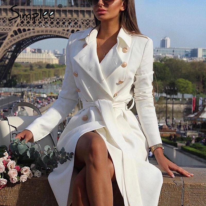 Vintage double breasted white trench coat for women sashes slim long trench female winter office