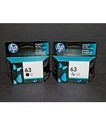 2 Packs HP Hewlett Packard Genuine Ink 63 Black & Tri-Color Ink New 4/20... - $49.49