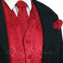 Red XS to 6XL Paisley Tuxedo Suit Dress Vest Waistcoat & Neck tie Hanky ... - $22.75+
