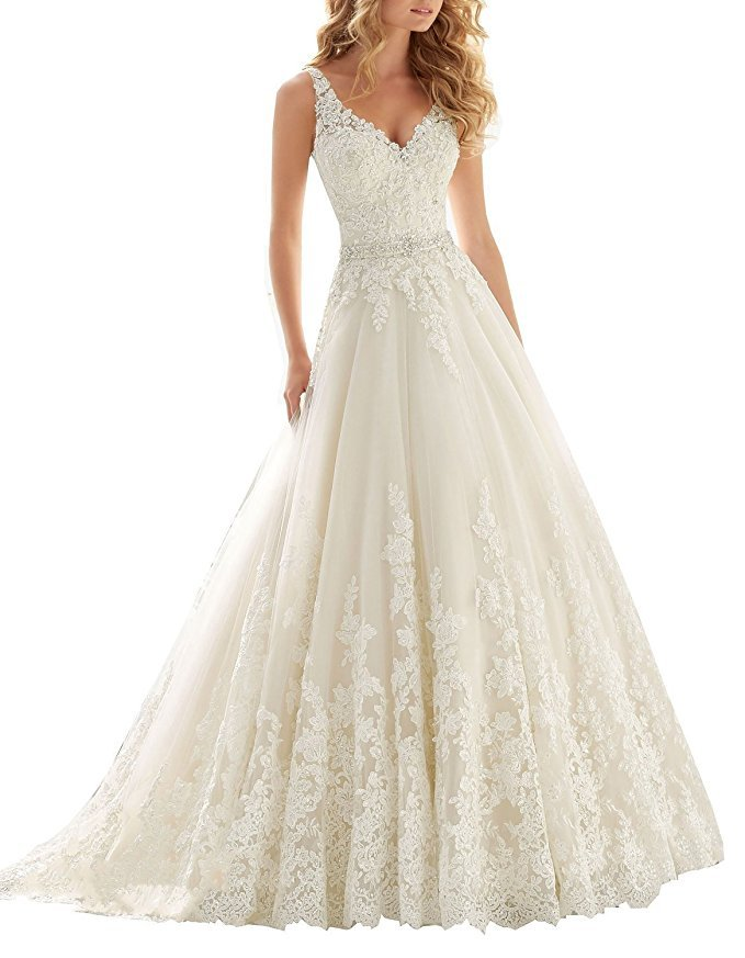 Cheap A Line V neck Lace Wedding Dress Ivory,Wedding Gown,Bridal Dress 2017 for sale  USA