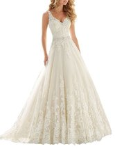 Cheap A Line V neck Lace Wedding Dress Ivory,Wedding Gown,Bridal Dress 2017 - $199.00