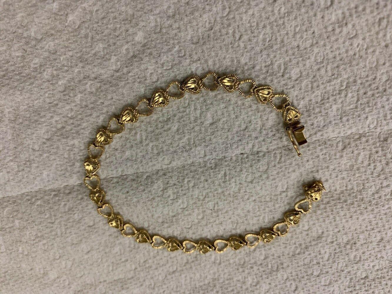 "Real Genuine 14K Solid Yellow Gold 7"" Diamond Cut Heart Link Bracelet 5.3G"
