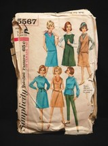 Old Vintage 1964 Simplicity Sewing Pattern 5567 Miss Size 14 Weskit & Skirt - $6.92