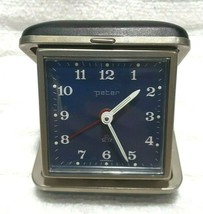 Working German Peter Blue Face Travel Alarm Clock Germany Mechanical Clock - $44.95