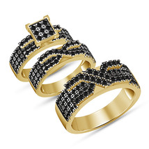 14K Yellow Gold Plated 925 Sterling Silver Black Simulated Diamond Trio ... - $148.98