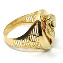 SOLID 18K YELLOW GOLD BAND MAN RING, COBRA IN RELIEF, OVAL, SNAKE, VERY DETAILED image 3