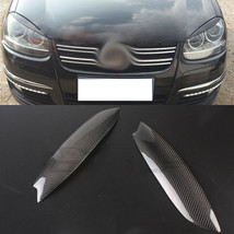 Carbon Fiber Car Headlight Cover Eyebrows Eyelid Trim  Decals For VW Golf 5 - $69.29