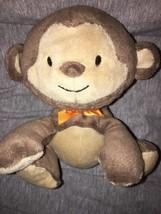"Carter's Child of Mine beanbag plush Brown Monkey orange ribbon bow 6"" Sewn Eyes - $11.87"