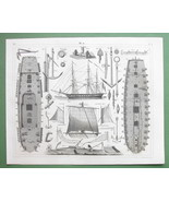 FRIGATE Gunships Construction Sails Masts Anchors - SUPERB 1844 Antique ... - $26.01