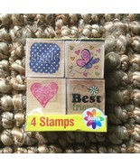 Delta Creative Wooden Rubber Stamps Package of 4 Heart, Best Friends, Bu... - $14.84
