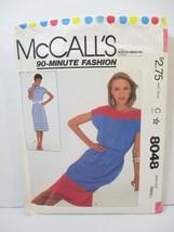 McCall's 90 Minute Fashion Pattern 8048 Miss Size Small Dress + Tie Belt... - $12.86