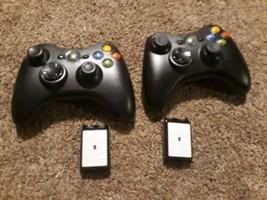 2 Xbox 360 OEM Genuine Microsoft Wireless Black Controller w Battery Cov... - $25.69