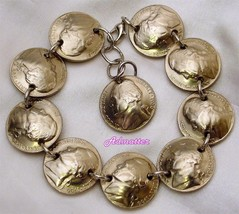 1953 Nickel Charm Bracelet! 64th Birthday Gift! Unique Handmade Coin Jewelry - $34.70