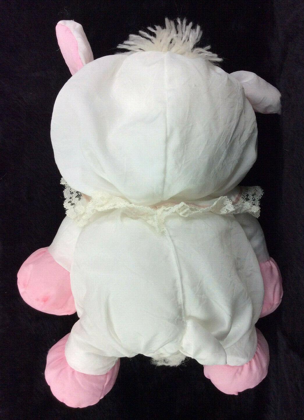 """1987 Fisher Price Puffalump Easter Lamb Sheep Plush 8009 White Pink 10"""""""