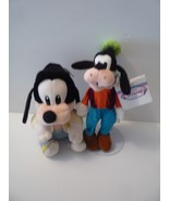 "Vintage Disney 9"" Baby Goofy Plush Toy Animal & Goofy 11"" Bean Bag Set of 2"