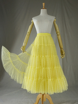Women Tiered Long Skirt Outfit High Waisted Layered Yellow Tulle Skirt image 4