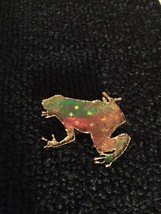 Vintage gold tone tin metal frog toad pin brooch jewelry - $4.54