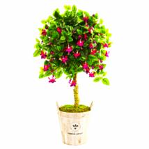 """45"""" Fuschia Artificial Tree in Barrel Planter - $155.23"""