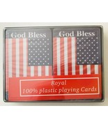 God Bless America Playing Cards US Flags 2 Decks 100% Plastic New in Case - $24.18