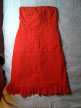 Old Navy, Orange Dress, Strapless, Tube, Eyelet, Lace, Beach, Lined, Sz2... - $13.00