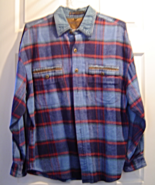 Fryday Club Men's Size XL Button Down Blue and Red Plaid Flannel Shirt    - $24.99