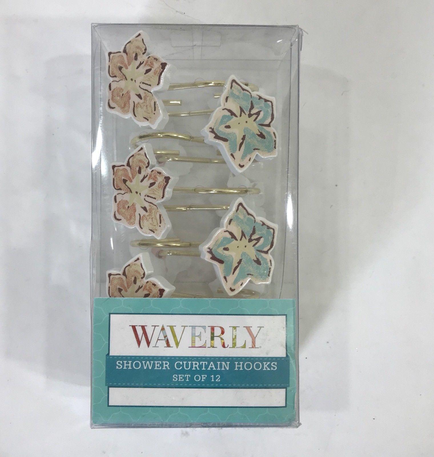 Waverly Honeymoon Shower Curtain Hooks Flower Set Of 12 Bathroom Decor