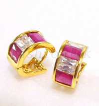 Huggie Hoop Earrings 24K Gold Plated Pink and Clear Simulated Diamonds 8... - $15.19